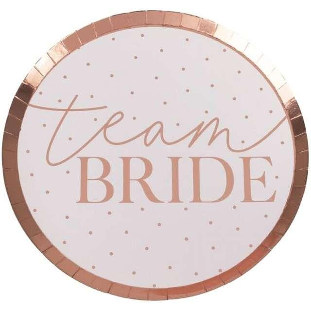 """Talerzyki papierowe """"Wieczór Panieński - Team Bride"""", różowe złoto, 25 cm, 8 szt"""