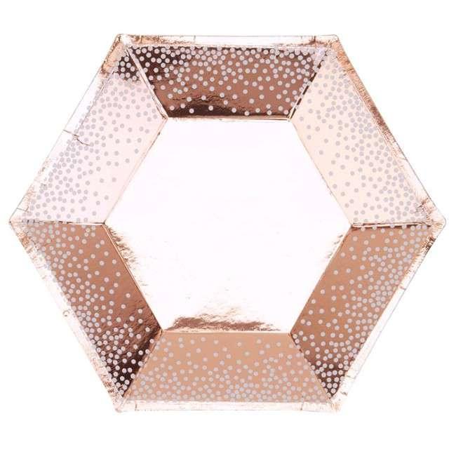 """Talerzyki papierowe """"Merry Christmas - Grochy"""", różowe złoto, 20 cm, 8 szt"""
