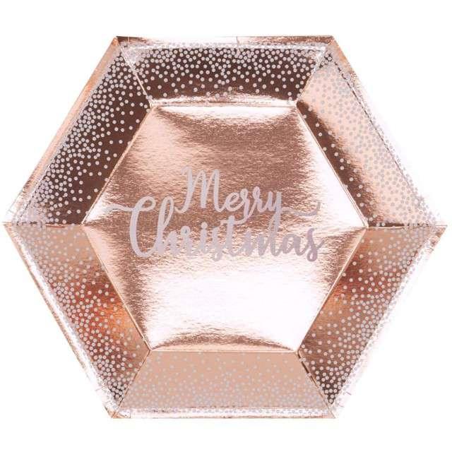 """Talerzyki papierowe """"Merry Christmas"""", różowe złoto, 27 cm, 8 szt"""