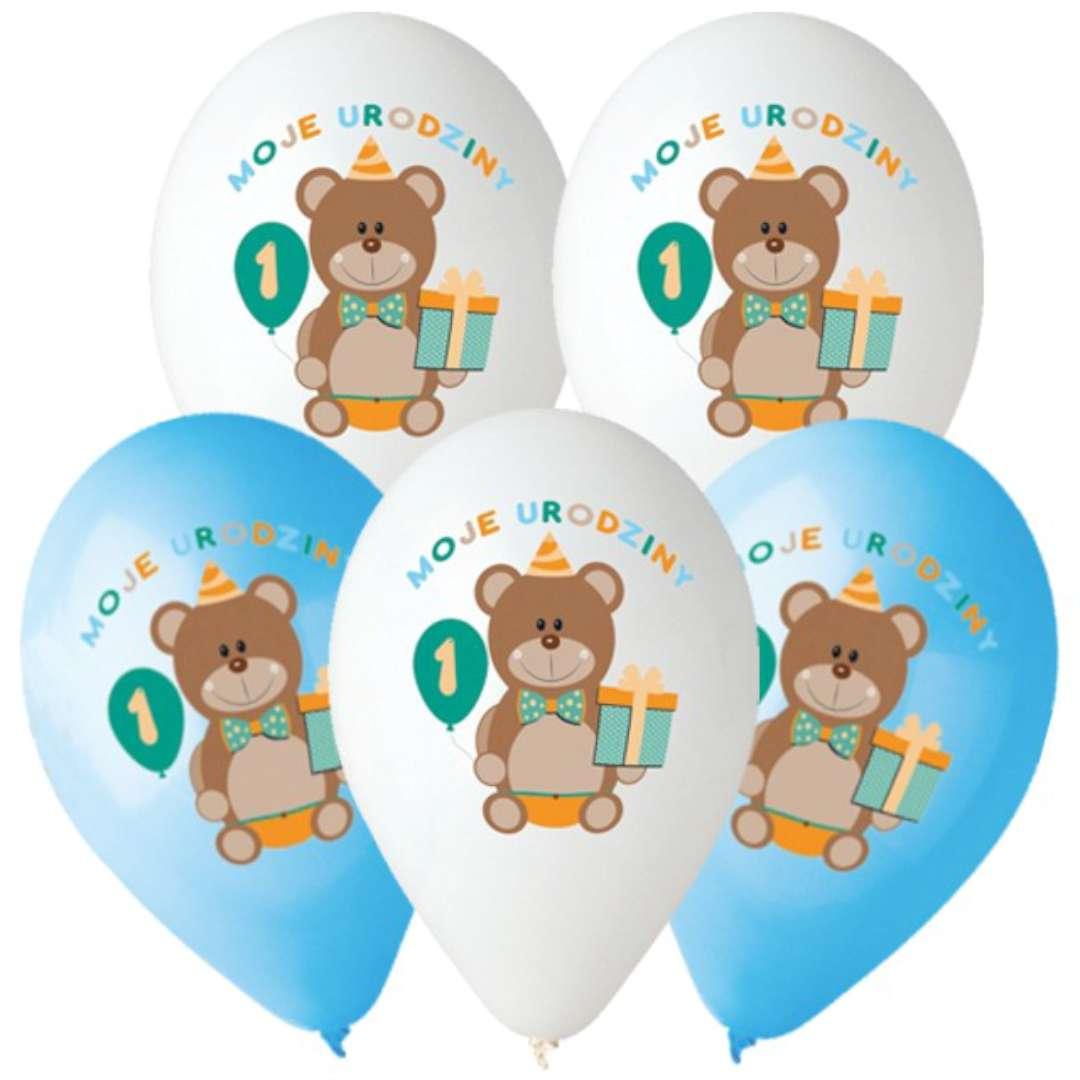 """Balony """"Moje 1 urodziny"""", Godan,  5 szt, 12"""""""