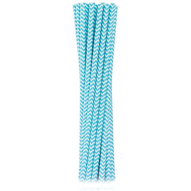 """Słomki papierowe """"BIO Szlaczki"""", Godan, niebieskie jasne, 19 cm, 12 szt"""