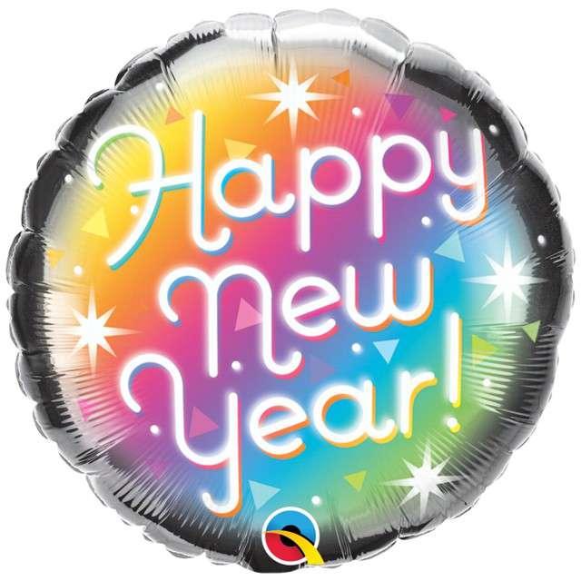 """Balon foliowy """"Happy New Year - Pryzmatyczny"""", QUALATEX, 18"""" RND"""
