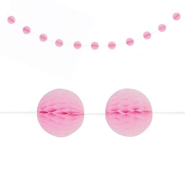 """Girlanda bibułowa """"Honeycomb - Kule"""", różowa jasna, Unique, 213 cm"""