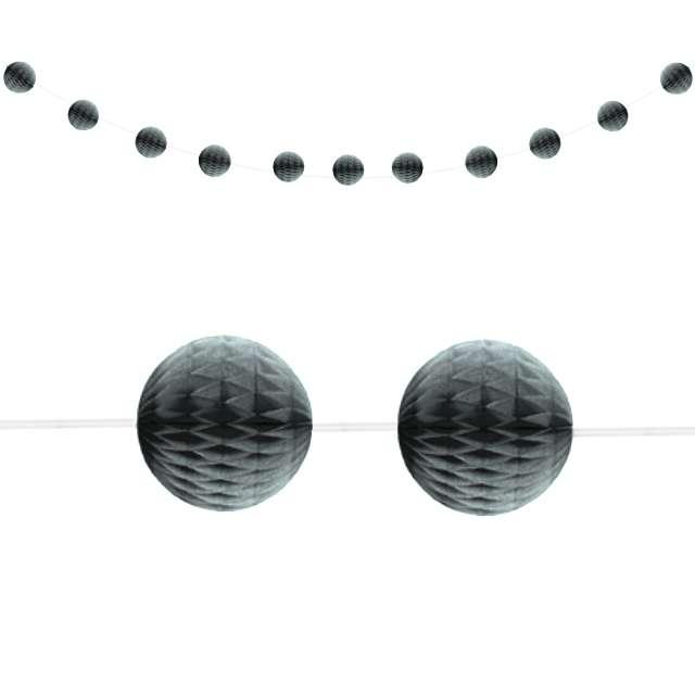 "Girlanda bibułowa ""Honeycomb - Kule"", srebrna, Unique, 213 cm"