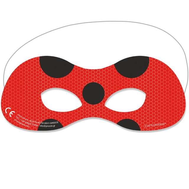 """Maska papierowa """"Miraculous - Biedronka"""" czerwona, Procos, 6 szt"""