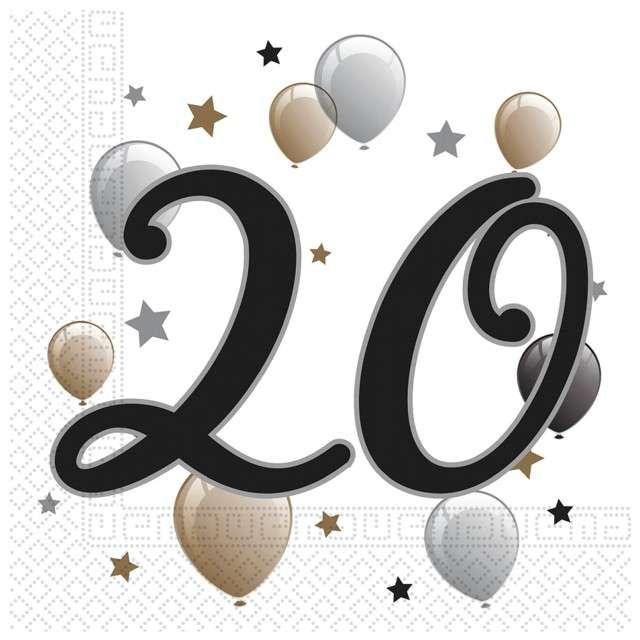 """Serwetki """"20 Urodziny - Balony"""", PROCOS, 33 cm , 20 szt"""