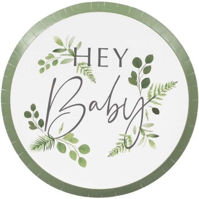 """Talerzyki papierowe """"Hey Baby"""", Godan, 24 cm, 8 szt"""