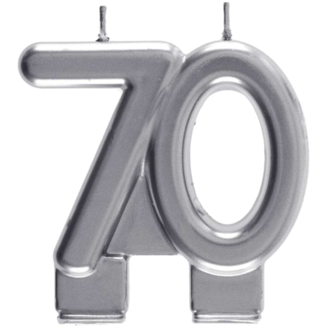 "Świeczka na tort ""Cyfra 70"", srebrna, Santex, 9 cm"