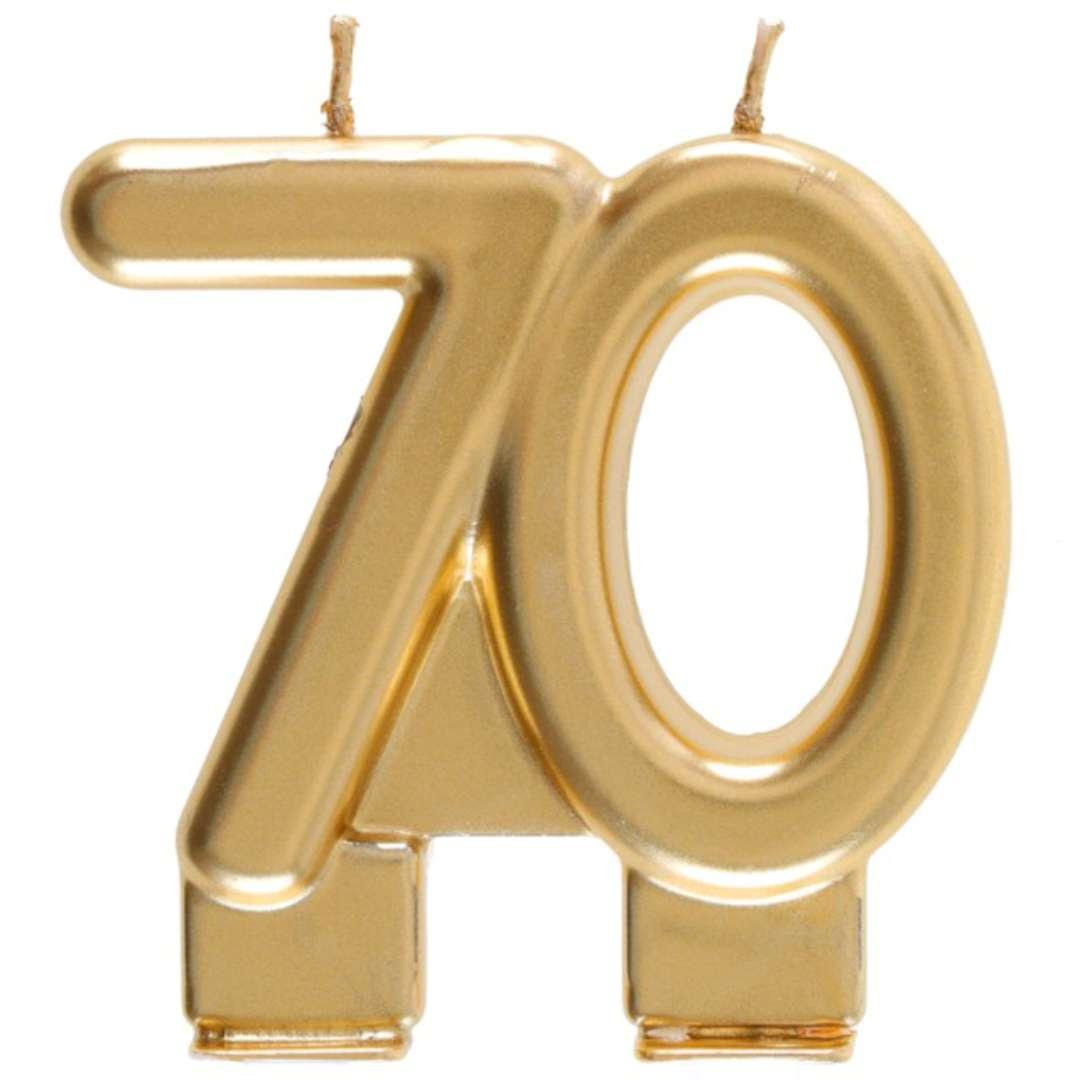 """Świeczka na tort """"Cyfra 70"""", złota, Santex, 9 cm"""