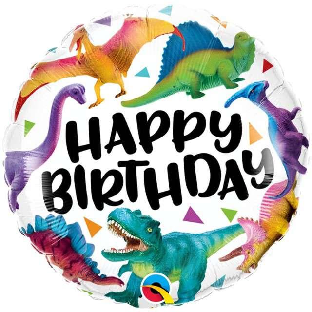 """Balon foliowy """"Happy Birthday - Dinozaury"""", Qualatex, 18"""" RND"""