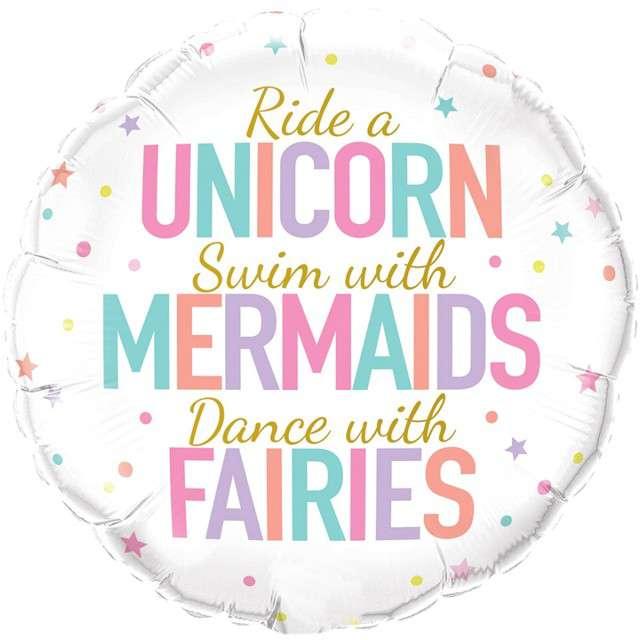 "Balon foliowy ""Unicorn, Mermaids, Fairies"", Qualatex, 18"" RND"