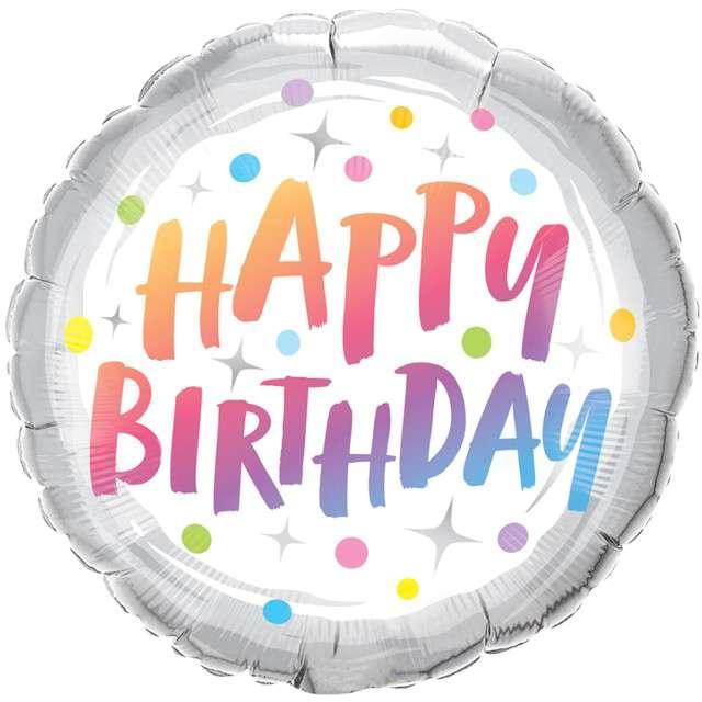 """Balon foliowy """"Happy Birthday - tęczowe gwiazdki i kropki"""", Qualatex, 18"""" RND"""