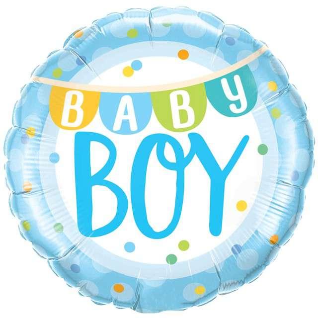 """Balon foliowy """"Baby Boy"""", Qualatex, 18"""" RND"""