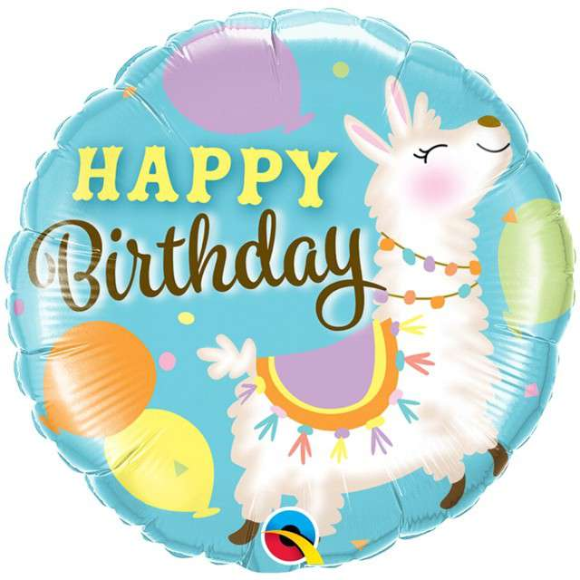 """Balon foliowy """"Happy Birthday - Urodzinowa lama"""", Qualatex, 18"""" RND"""