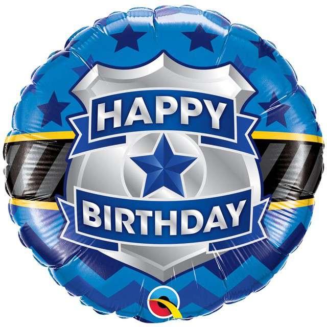 "Balon foliowy ""Happy Birthday - Policja"", Qualatex, 18"" RND"