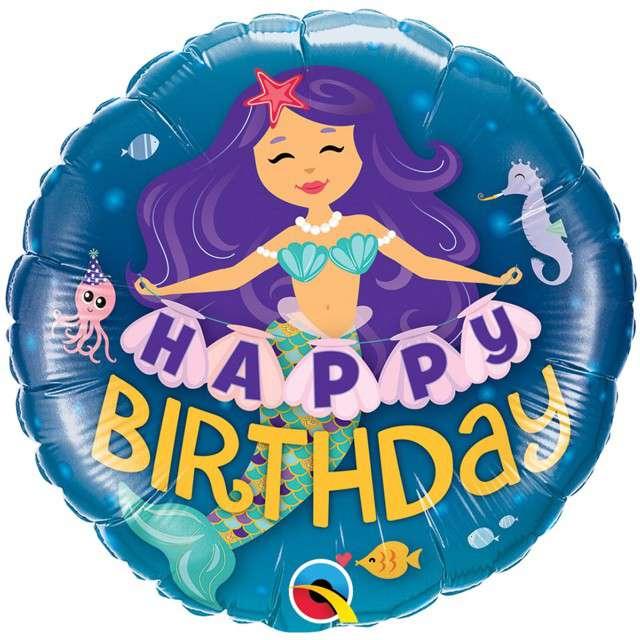 "Balon foliowy ""Happy Birthday - Syrenka"", Qualatex, 18"" RND"