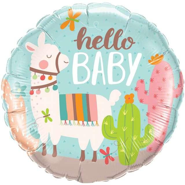 """Balon foliowy """"Hello Baby"""", Qualatex, 18"""" RND"""