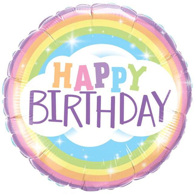 "Balon foliowy ""Happy Birthday"", tęczowy, Qualatex, 18"" RND"