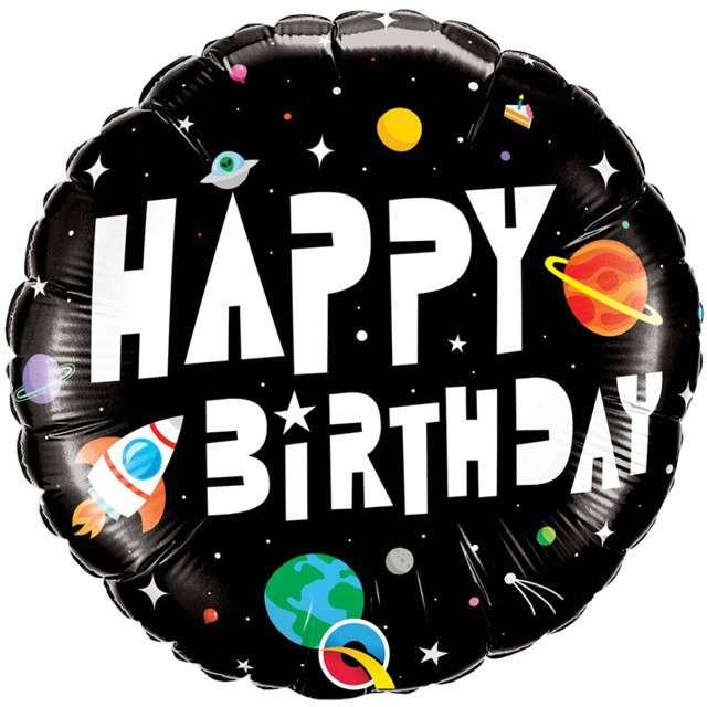 """Balon foliowy """"Happy Birthday - astronauta"""", Qualatex, 18"""" RND"""