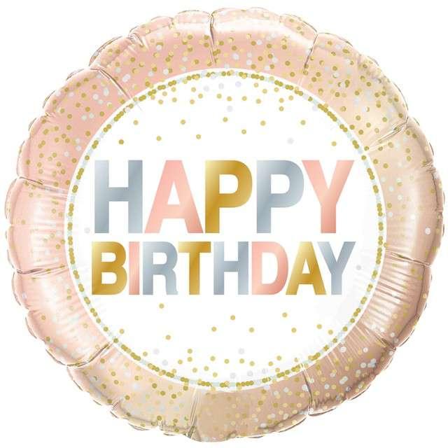 """Balon foliowy """"Happy Birthday - konfetti"""", Qualatex, 18"""" RND"""