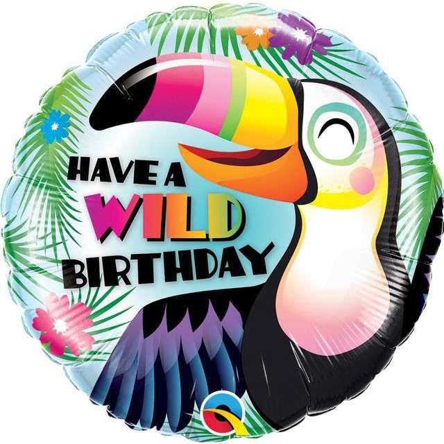 """Balon foliowy """"Have a Wild Birthday"""", Qualatex, 18"""" RND"""
