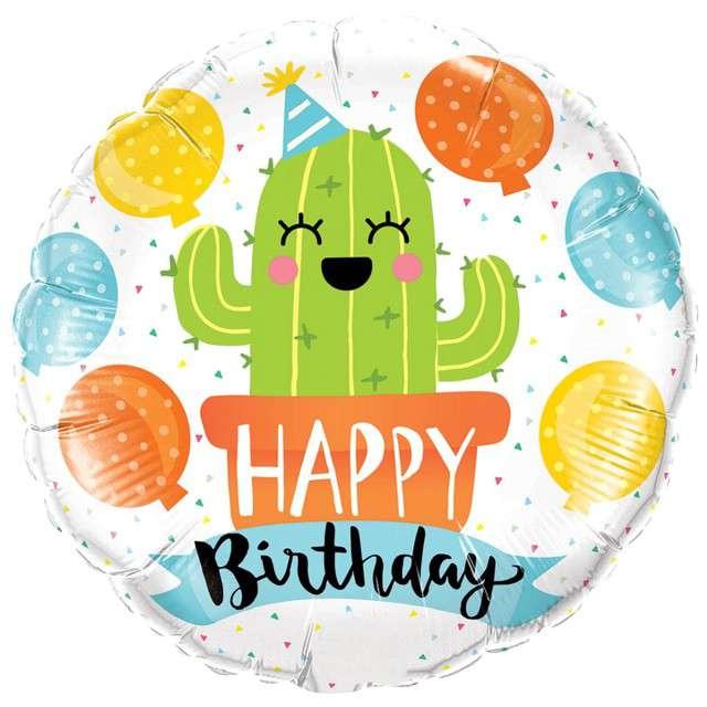 "Balon foliowy ""Happy Birthday Kaktus"", Qualatex, 18"" RND"