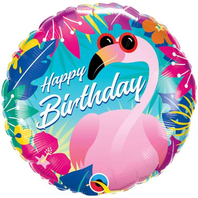"Balon foliowy ""Happy Birthday - Flaming"", Qualatex, 18"" RND"