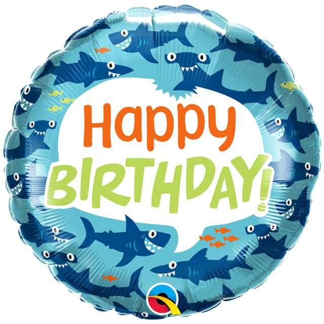 "Balon foliowy ""Happy Birthday - Rekiny"", Qualatex, 18"" RND"