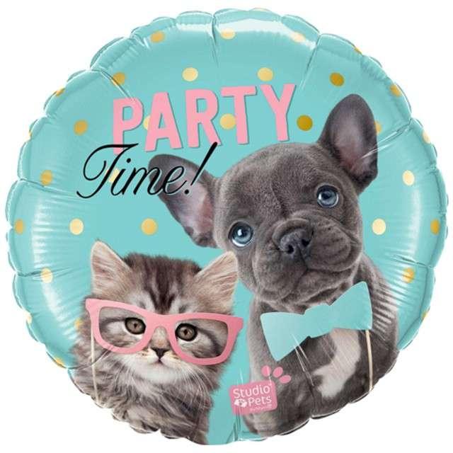 "Balon foliowy ""Party Time Pets"", Qualatex, 18"" RND"