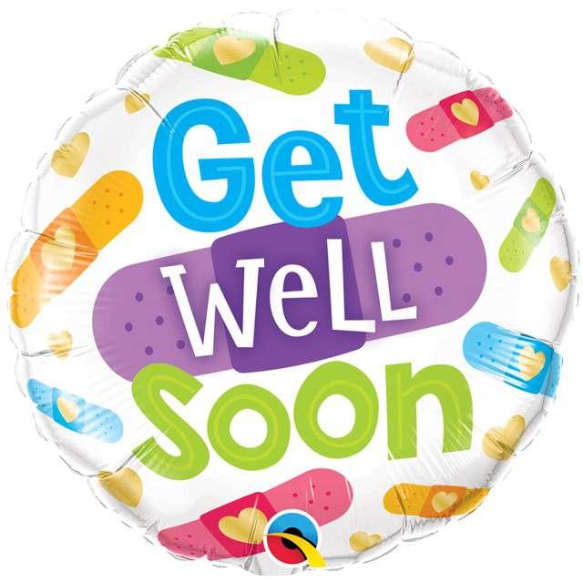 """Balon foliowy """"Get well soon"""", Qualatex, 18"""" RND"""