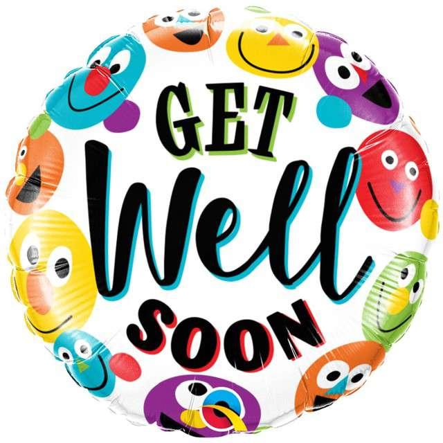 """Balon foliowy """"Get well soon smileys"""", Qualatex, 18"""" RND"""