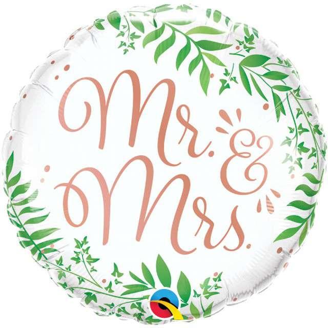 """Balon foliowy """"Mr and Mrs"""", Qualatex, 18"""" RND"""