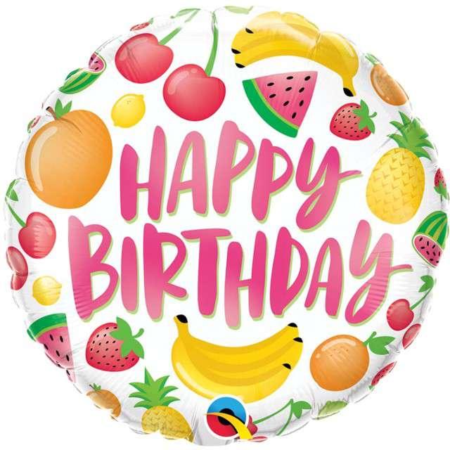 """Balon foliowy """"Happy Birthday - Urodzinowe owoce"""", Qualatex, 18"""" RND"""