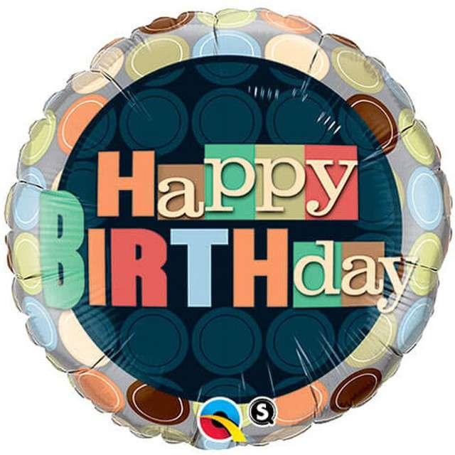 "Balon foliowy ""Happy Birthday Dots - kropki"", Qualatex, 18"" RND"