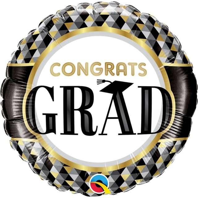 "Balon foliowy ""Grad Congrats"", Qualatex, 18"" RND"