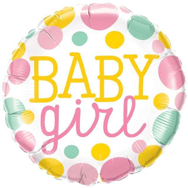 Balon foliowy Baby Girl Qualatex 18 RND