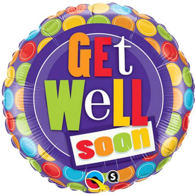 """Balon foliowy """"Get well soon - Kropki"""", Qualatex, 18"""" RND"""
