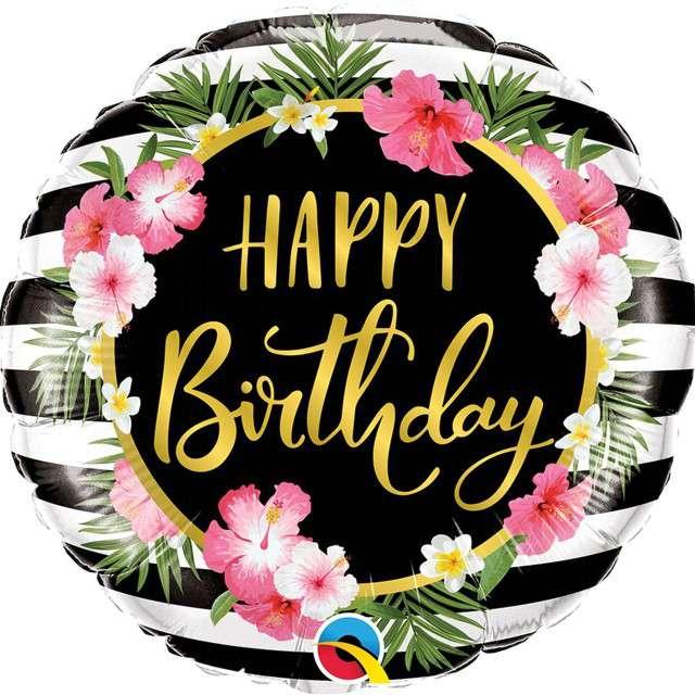 """Balon foliowy """"Happy Birthday - kwiaty hibiskusa"""", Qualatex, 18"""" RND"""