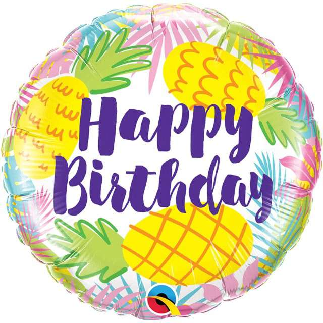 "Balon foliowy ""Happy Birthday - Ananasy"", Qualatex, 18"" RND"