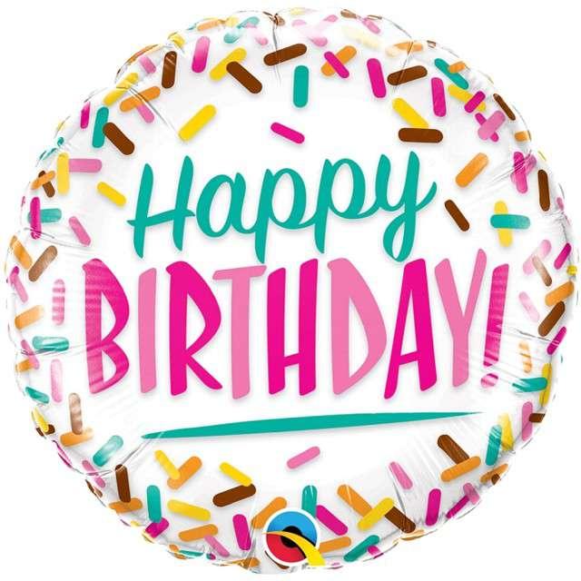 """Balon foliowy """"Happy Birthday - cukierkowe urodziny"""", Qualatex, 18"""" RND"""