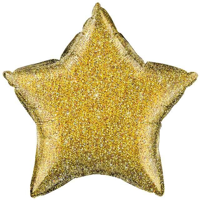 """Balon foliowy """"Gwiazda"""", złoty brokatowy, QUALATEX, 20"""" STR"""