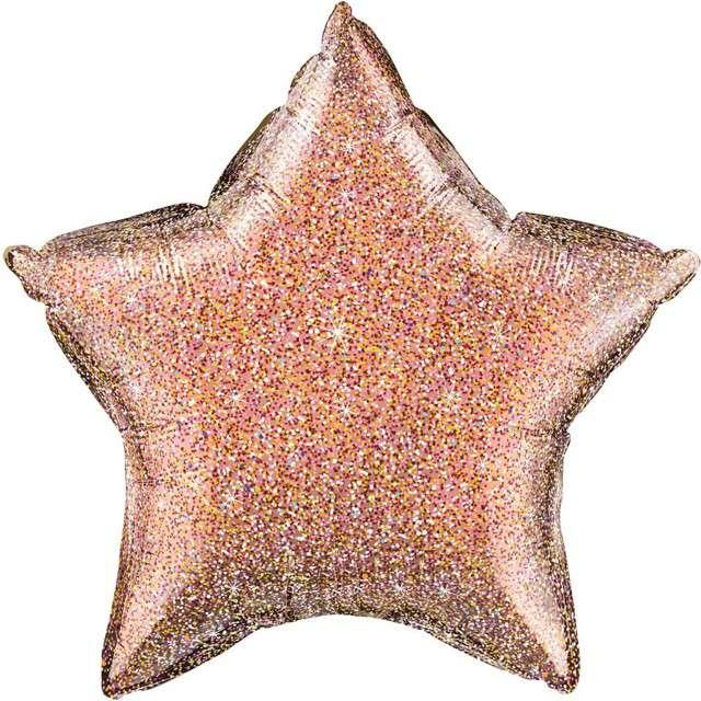 """Balon foliowy """"Gwiazda"""", różowo-złoty brokatowy, QUALATEX, 20"""" STR"""