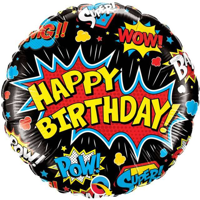 "Balon foliowy ""Happy Birthday - czarny Komiks"", Qualatex, 18"" RND"
