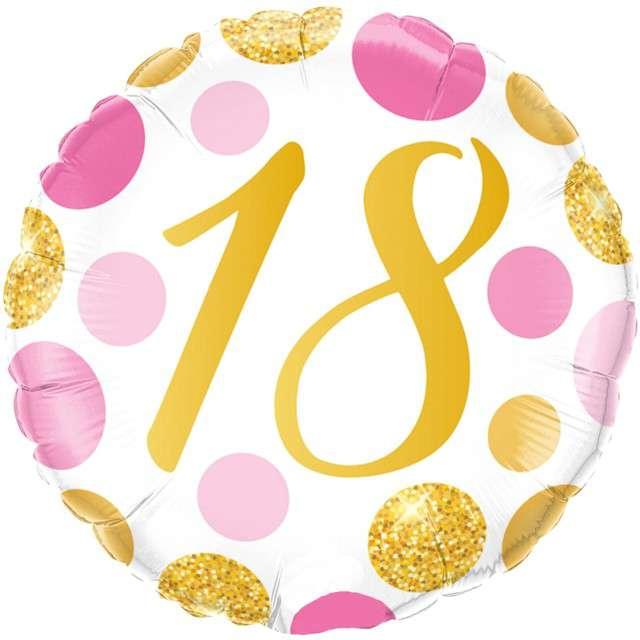 """Balon foliowy """"Kolorowe 18 Urodziny"""", różowo-złoty, Qualatex, 18"""" RND"""