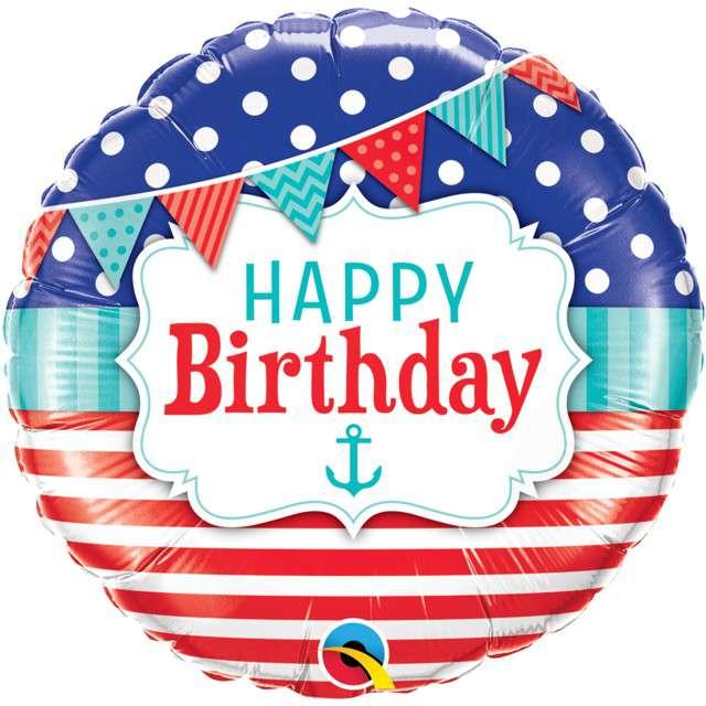 """Balon foliowy """"Morskie urodziny - Happy Birthday"""", Qualatex, 18"""" RND"""