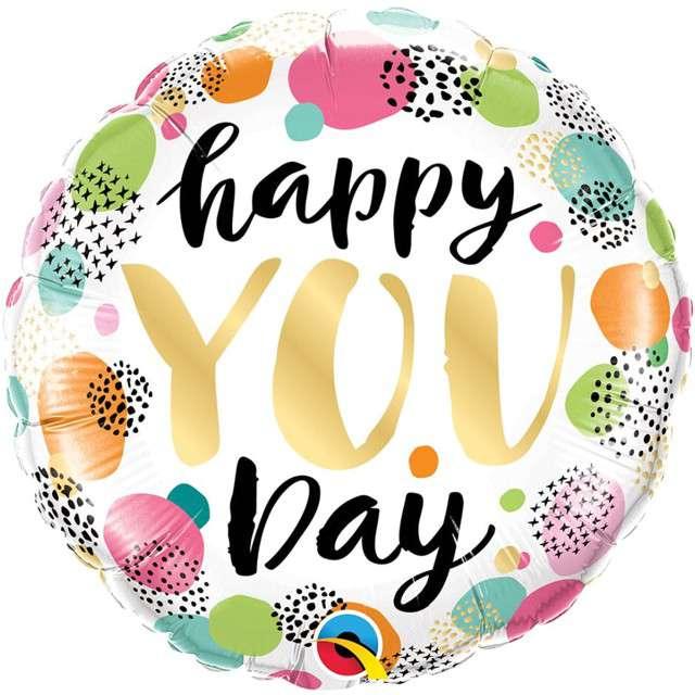 """Balon foliowy """"Happy you day"""", Qualatex, 18"""", RND"""
