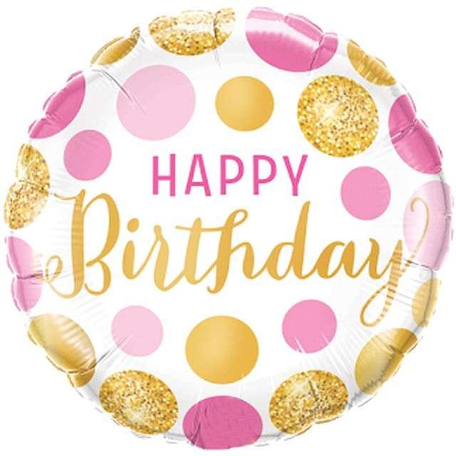 """Balon foliowy """"Kolorowe urodziny"""", różowo-złoty, Qualatex, 18"""" RND"""