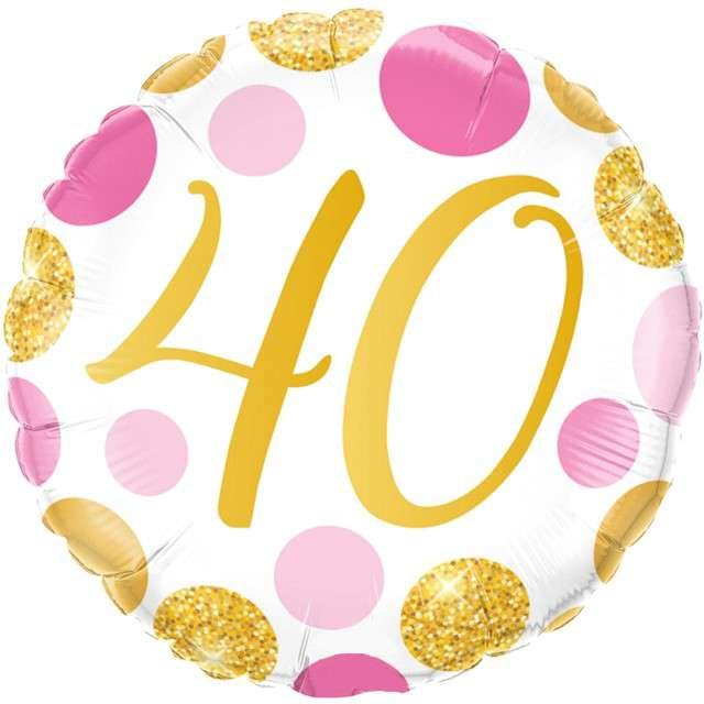 """Balon foliowy """"Kolorowe 40 Urodziny"""", różowo-złoty, Qualatex, 18"""" RND"""