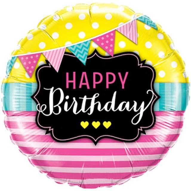 "Balon foliowy ""Happy Birthday - girlandy i pasy"", Qualatex, 18"" RND"