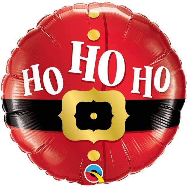 Balon foliowy HO HO HO czerwony Qualatex 18 RND